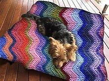 Wolldecke Muster Nähte Hundebett Pet Supplies Große extra Größe XL Reißverschluss mit Innenkissen