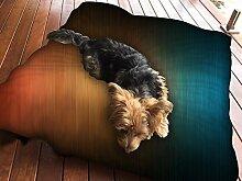 Wolldecke orange und blau Design Hundebett Pet Supplies Große extra Größe XL Reißverschluss mit Innenkissen