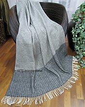 Wolldecke Plaid Decke Wohndecke 140x200cm 80% Wolle Grau-Schwarz -Weiß Nice