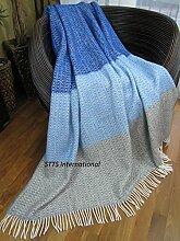 Wolldecke Plaid Decke Wohndecke Tagesdecke 140x200cm 80% Wolle Grau-Royal Blau Nice