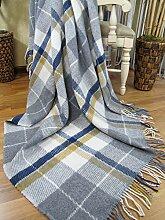 Wolldecke Plaid Wohndecke Decke Wolle 140x200cm 100% Schurwolle (Grau-Blau-Gelb (Karo))