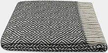 Wolldecke Plaid Wohndecke Kuscheldecke Plaid Decke 140x200cm 80% Wolle Verona Dunkelgrau-Weiß