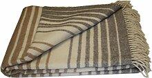 Wolldecke - reine Merino Wolle (140cm x 200cm) Plaid Blanket Sofadecke Decke (Weiß / Beige / Grau #2)