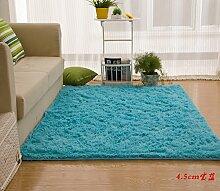 Wolldecke Schlafzimmer Wohnzimmer Couchtisch Seite drift Bereich Eingang Teppich Teppich Teppich, 150 x 280 cm, 4,5Cm blau