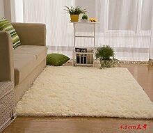 Wolldecke Schlafzimmer Wohnzimmer Couchtisch Seite drift Bereich Eingang Teppich Teppich Teppich, 120 × 160 cm, 4,5 cm beige