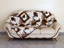 Wolldecke, Schurwolle Decke, Tagesdecke Jerba, 100% Merinowolle. Größe: 135x200