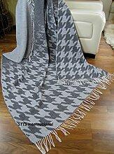 Wolldecke sehr weiches Plaid Decke Wohndecke Kuscheldecke 140x200 cm Wolle Grau-Weiß