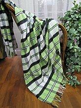 Wolldecke Wohndecke Decke Tagesdecke Blanket Kuscheldecke Karo Rio (140 x 200 cm, Grün)