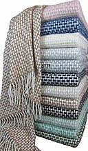 Wolldecke Wohndecke Kuscheldecke Decke 140 x 200cm Plaid 80% Wolle Grau - Weiß Roma (Beige-Weiß)