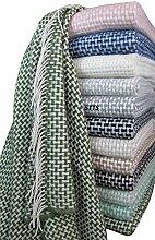 Wolldecke Wohndecke Kuscheldecke Decke 140 x 200cm Plaid Wolle Roma (Grün-Weiß)