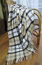 Wolldecke Wohndecke Plaid Tagesdecke 140 x 200cm Kuscheldecke Paris (Beige-Weiß)