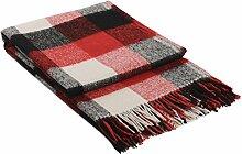 Wolldecke Wohndecke Plaid Tagesdecke 140 x 200cm Kuscheldecke Paris (Rot-Schwarz-Weiß)