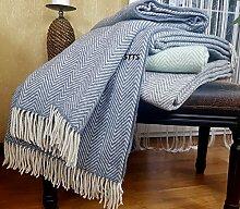 Wolldecke Wohndecke sehr weiches Plaid Kuscheldecke 140x200cm Grau/Blau-Weiß