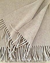 Wolldecke Wollplaid mit Kaschmir Anteil, Tagesdecke, Sofadecke 135x170 cm