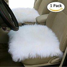 Wolle Plüsch Kissen bequem und atmungsaktiv Sitzbezüge, Universal Winter Sitzbezug für Automobil-, Büro und Zuhause weiß