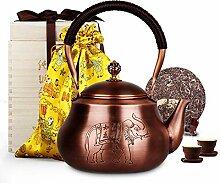 Wollet Teekanne, handgefertigt, massives Kupfer,