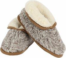 Wollhausschuhe grau-melange mit Anti-Rutsch Sohle aus 100% Merinowolle in Größe 38-39