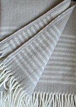 Wollplaid Silber mit Streifen, Wolldecke,