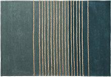 Wollteppich, grün mit Streifenmustern aus Jute