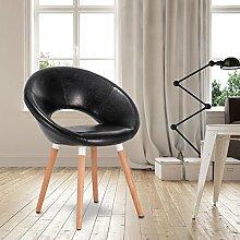 WOLTU® 1 Stück Esszimmerstuhl Küchenstuhl Wohnzimmerstuhl Design Stuhl Retro Stuhl Polsterstuhl mit Rückenlehne Kunstleder Massivholz Schwarz BH71sz-1