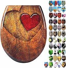WOLTU #1 WC Sitz mit Absenkautomatik, Duroplast, Softclose Scharnier, Antibakteriell, 45 Toilettendeckel zur Auswahl (WS2617-1 Wood Heart)