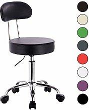 WOLTU® 1 x Drehhocker Arbeitshocker Praxishocker Bürostuhl Rollhocker Stuhl Drehstuhl Hokcer mit Lehne und Rollen Braun BH34br-1-a