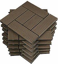 WOLTU 11 Stück WPC Terrassenfliesen Holzoptik