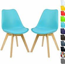 WOLTU 2 x Esszimmerstühle 2er Set Esszimmerstuhl Design Stuhl Küchenstuhl Holz Neu Design BH29bl-2-a Blau