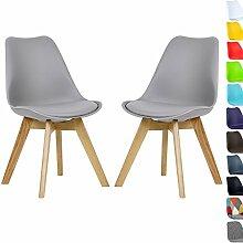 WOLTU 2 x Esszimmerstühle Esszimmerstuhl Design Stuhl Küchenstuhl Holz Neu Design Set BH29gr-2-a Grau