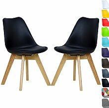 WOLTU 2 x Esszimmerstühle Esszimmerstuhl Design Stuhl Küchenstuhl Holz, Neu Design Set BH29sz-2-a Schwarz