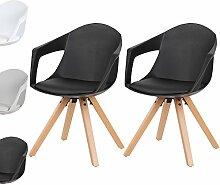 WOLTU® 2 x Esszimmerstühle Esszimmerstuhl Stuhl Küchenstuhl aus Holz mit Bodenschonern Gepolsterte Sitzfläche aus Kunstleder Neu BH49sz-2-a Schwarz