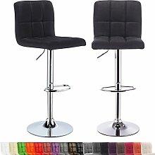 WOLTU® 2er-Set Barhocker Barstuhl Bar Hocker Barstühle mit Rückenlehne höhenverstellbar Leinen Schwarz BH32sz-2-c