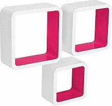 WOLTU 3er Set Wandregal Cube Regal Bücherregal Regalsysteme, Retro Hängeregal RG9236rs, Weiß-Pink