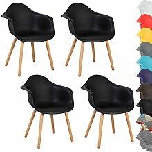 WOLTU® 4er Set Esszimmerstühle Küchenstuhl Design Stuhl Esszimmerstuhl mit Lehne Kunststoff Holz Neu Design Schwarz BH37sz-4