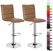 WOLTU BH15kk Design Hocker mit Griff , 2er Set , stufenlose Höhenverstellung , verchromter Stahl , Antirutschgummi , pflegeleichter Kunstleder , gut gepolsterte Sitzfläche , Khaki