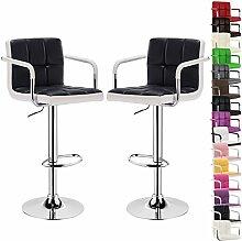 WOLTU BH16szw-2-a 2 x Barhocker Design Bar Hocker mit Armlehne , 2er Set Barstuhl , stufenlose Höhenverstellung , verchromter Stahl , Antirutschgummi , pflegeleichter Kunstleder , 2 farbig gut gepolsterte Sitzfläche , Schwarz+Weiss