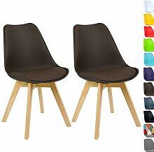 WOLTU BH29br-2 2 x Esszimmerstühle 2er Set Esszimmerstuhl Design Stuhl Küchenstuhl Holz, Neu Design Braun