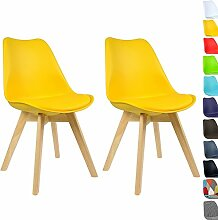 WOLTU BH29gb-2 2 x Esszimmerstühle 2er Set Esszimmerstuhl Design Stuhl Küchenstuhl Holz,Neu Design,Gelb