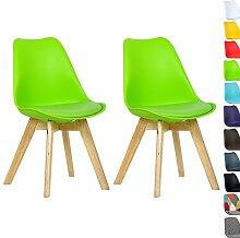 WOLTU BH29gn-2 2 x Esszimmerstühle 2er Set Esszimmerstuhl Design Stuhl Küchenstuhl Holz, Neu Design,Grün