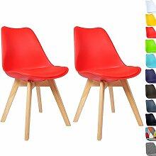 WOLTU BH29rt-2 2 x Esszimmerstühle 2er Set Esszimmerstuhl Design Stuhl Küchenstuhl Holz, Neu Design,Ro