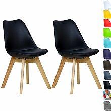WOLTU BH29sz-2 2 x Esszimmerstühle 2er Set Esszimmerstuhl Design Stuhl Küchenstuhl Holz, Neu Design,Schwarz