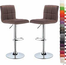 WOLTU® BH32br-2-a 2 x Barhocker Design Bar Hocker mit Griff , 2er Set Barstuhl Barstühle, stufenlose Höhenverstellung , verchromter Stahl , Antirutschgummi , Leinen, gut gepolsterte Sitzfläche , Braun
