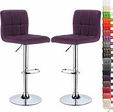 WOLTU® BH32la-2-a 2 x Barhocker Design Bar Hocker mit Griff , 2er Set Barstuhl Barstühle, stufenlose Höhenverstellung , verchromter Stahl , Antirutschgummi , Leinen, gut gepolsterte Sitzfläche , Lila