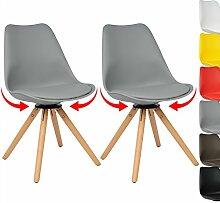 WOLTU BH57gr-2 2 x Esszimmerstühle 2er Set Esszimmerstühle Design Stuhl Küchenstuhl 360° frei drehbar Holz Neu Design Grau