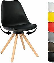 WOLTU BH57sz-1 1 Stück Esszimmerstuhl Design Stuhl Küchenstuhl, 360° frei drehbar, Kunstleder Holz Neu Design Schwarz