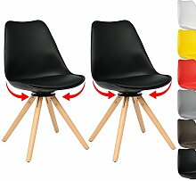 WOLTU BH57sz-2 2 x Esszimmerstühle 2er Set Esszimmerstühle Design Stuhl Küchenstuhl 360° frei drehbar Holz Neu Design Schwarz