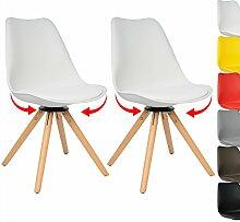 WOLTU BH57ws-2 2 x Esszimmerstühle 2er Set Esszimmerstühle Design Stuhl Küchenstuhl 360° frei drehbar Holz Neu Design Weiß