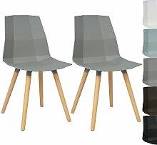 WOLTU BH63gr-2 2 x Esszimmerstühle 2er Set Esszimmerstühle Design Stuhl Küchenstuhl mit Rückenlehne Kunststoff Holz Neu Design Grau