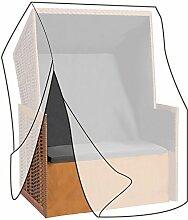 WOLTU GZ1160tp Schutzhülle Schutzhaube Abdeckplane Abdeckhaube Gewebeplane , Gartenmöbel Plane Hülle Abdeckung wasserabweisend für Strandkorb 135-165x125x90cm , transparen