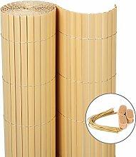 WOLTU GZZ1185bu4 Sichtschutzmatte PVC Sichtschutzzaun, Sichtschutz Windschutz für Balkon Garten Markise Zaun, Bambus Buche, 120 x 400 cm (Höhe x Länge)